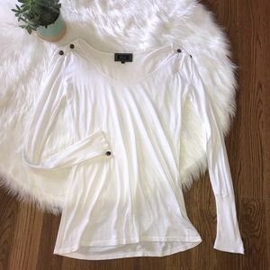 Rails White Long Sleeve Button Detail Top Small